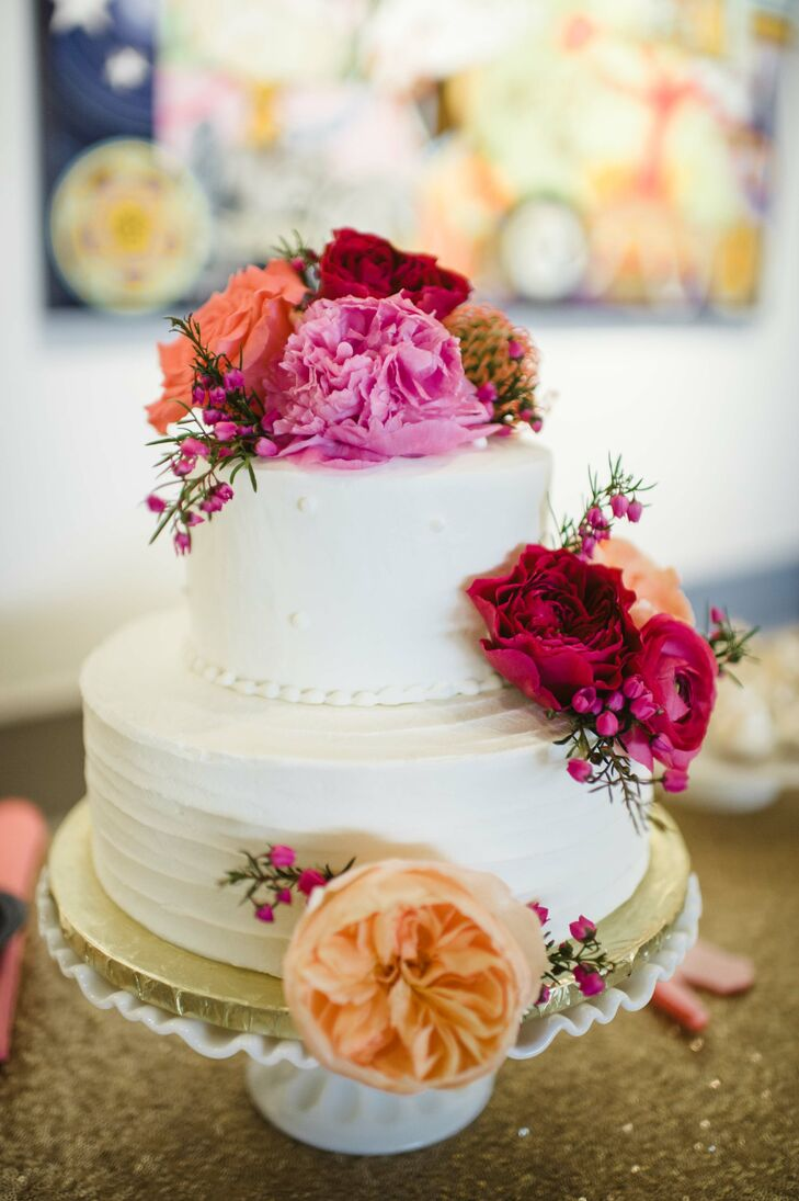 uptown grocery wedding cakes buttercream wedding cake with pink flowers 21507