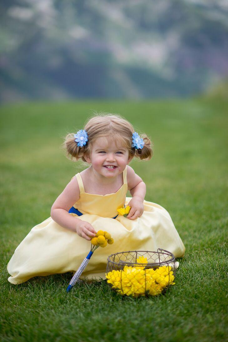 Yellow Flower Girl Dress Blue Flower Hair Accessories