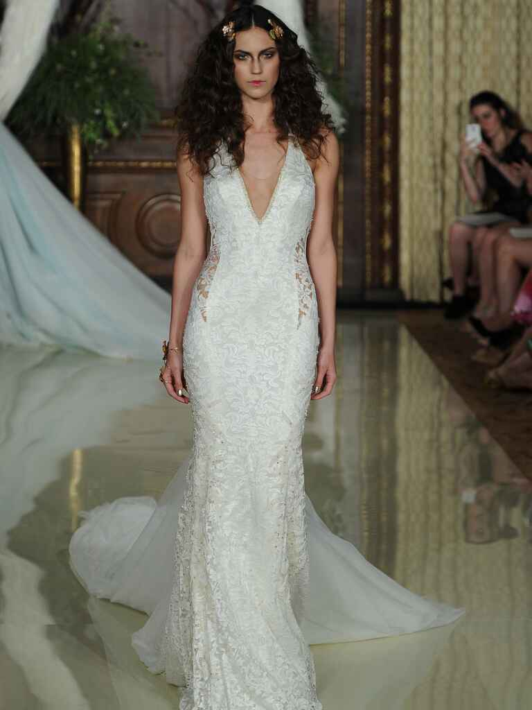 Galia Lahav waist slit lace wedding dress with deep v-neck and long train from Spring 2016