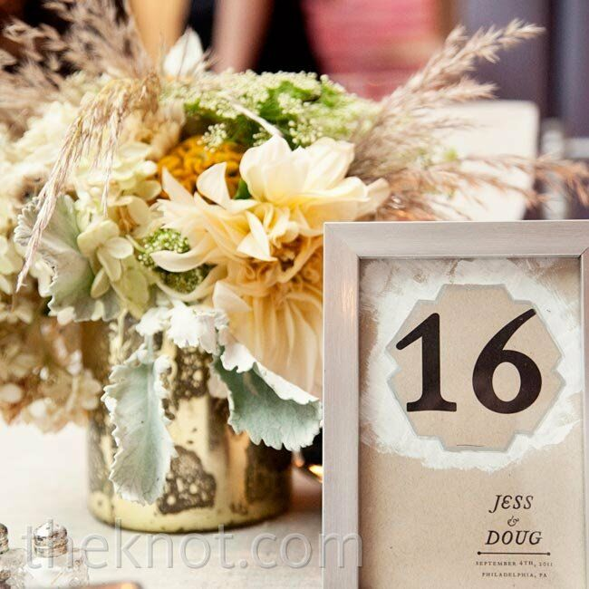 Framed table numbers mimicked the modern design from the invites.