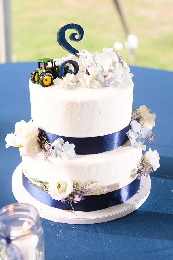 Silver Tractor Wedding Cake Topper