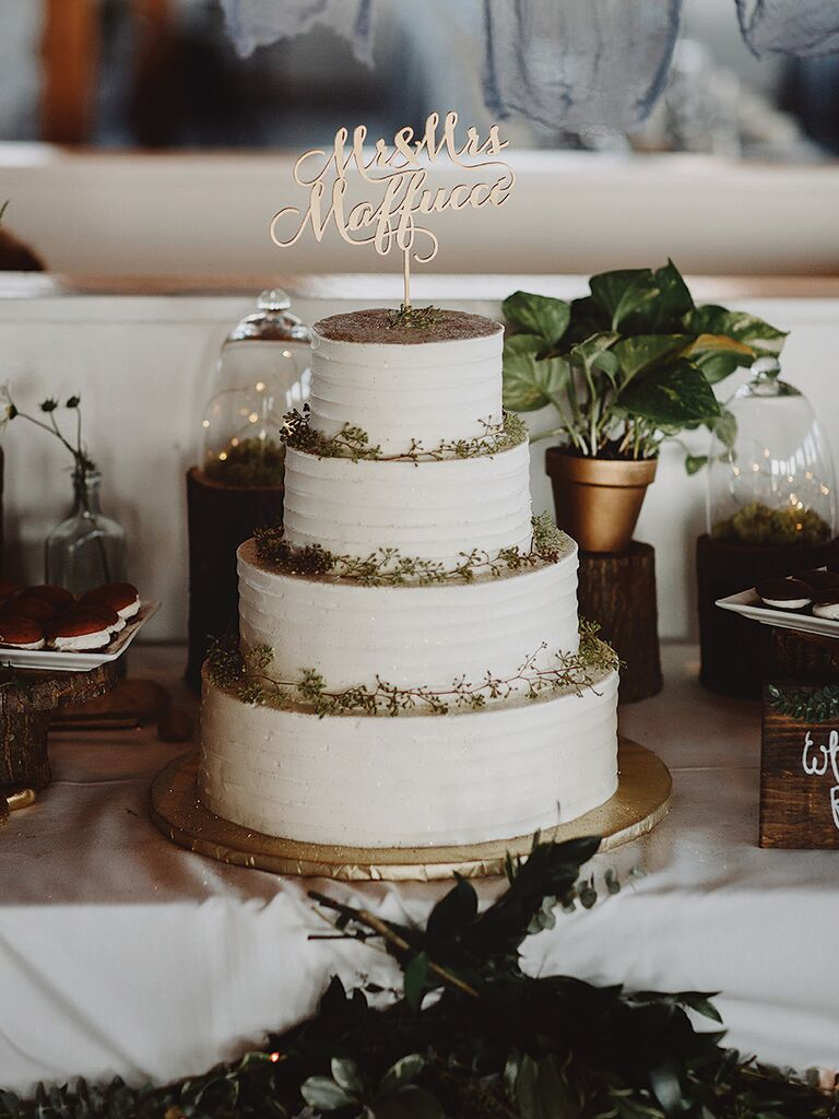 Rustic wedding cake ideas and inspiration four tier white wedding cake with custom topper junglespirit Choice Image