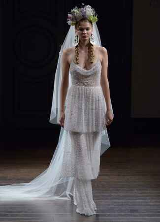 Naeem Khan Fall 2016 tiered sheath wedding dress with spaghetti straps and pearl beading