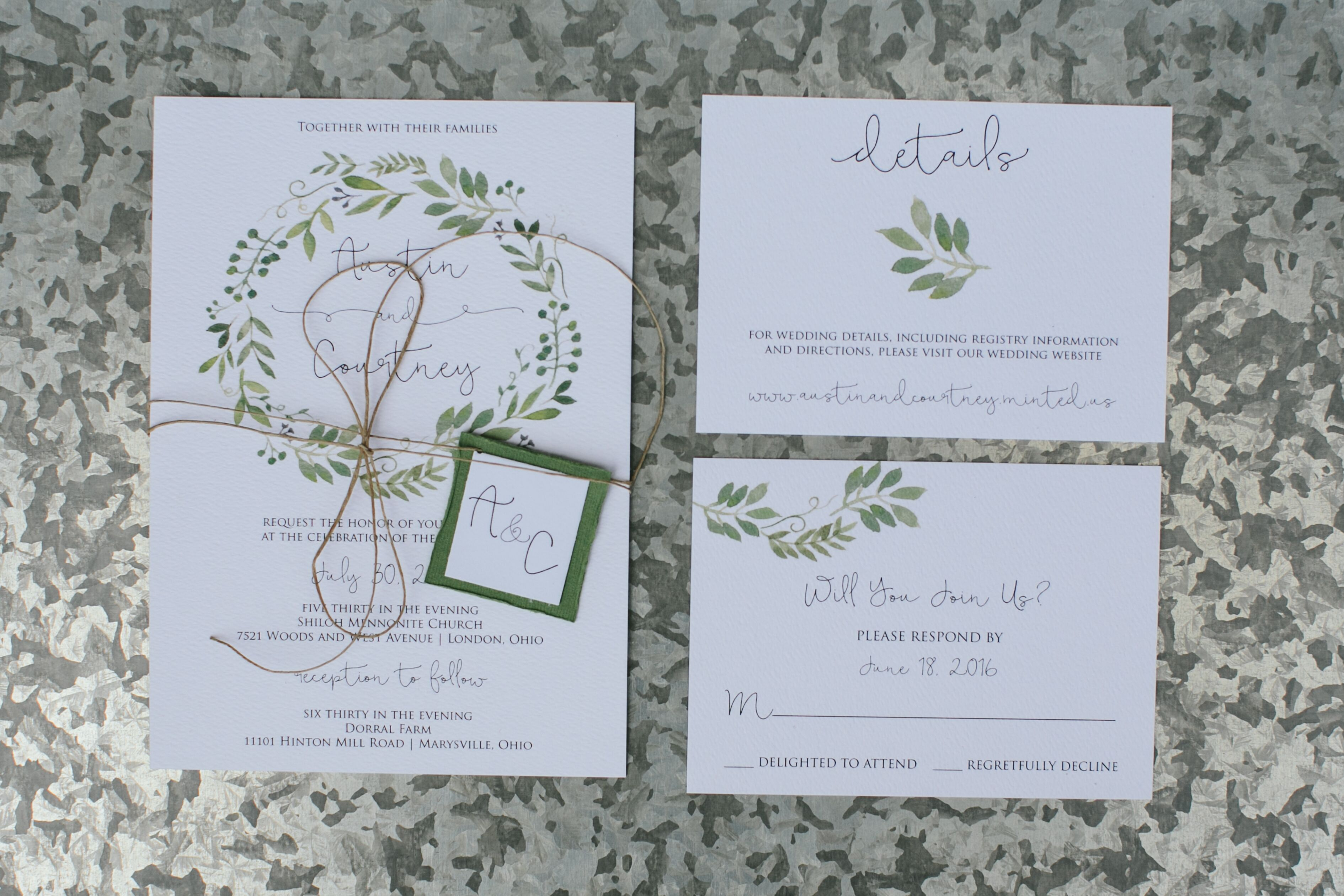 White And Green Wedding Invitations: Simple, Elegant White And Green Invitations