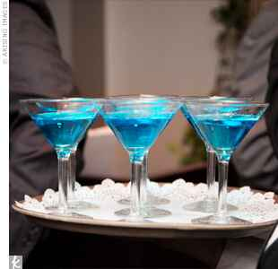 bright blue martini glasses