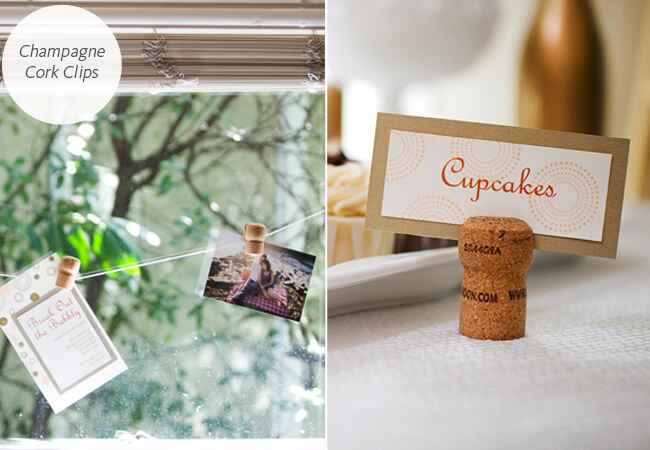 DIY champagne cork clips for food labels