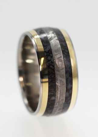 dinosaur bone wedding ring wedding rings made of dinosaur bone meteorite and deer antler 3550