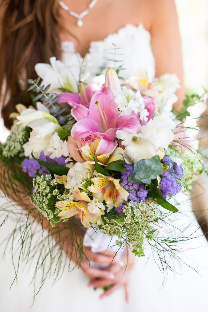 The bridal bouquet embodied some of the beautiful pastels, made up of blooms that ranged from various lilies to hydrangeas and Queen Anne's lace.
