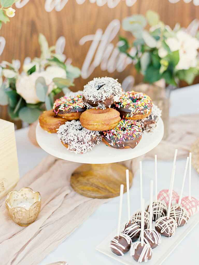 Wedding dessert bar donut display
