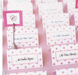Pink and white polka dot escort cards