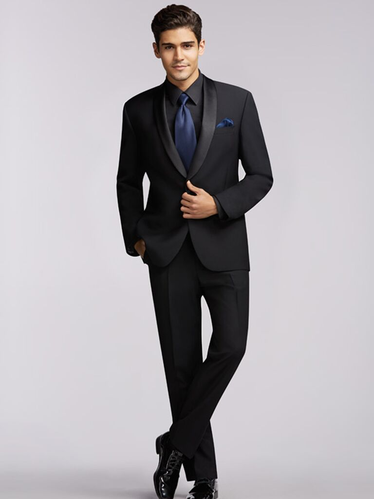 Wedding outfits for every style for Navy suit black shirt