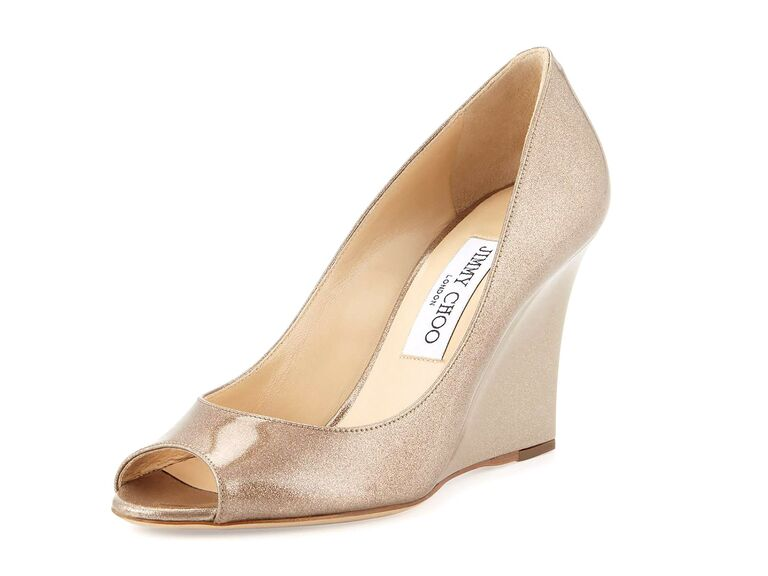 Jimmy Choo Baxen Glitter Nude Wedding Wedges