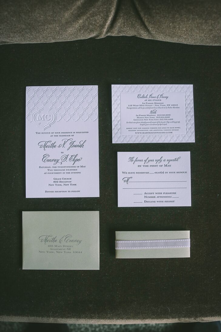 Sage Quatrefoil Invitations for New York Wedding