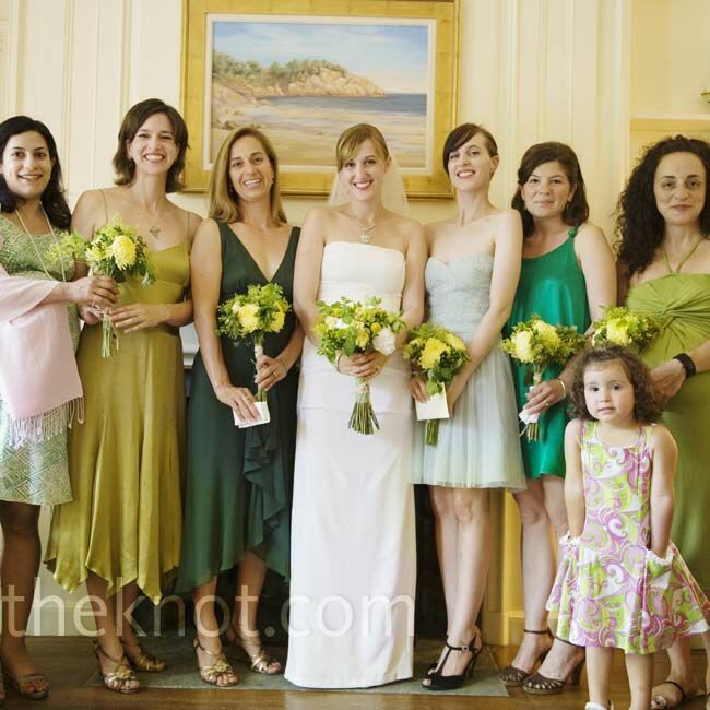 The Bride Asked Her Bridesmaids To Choose Their Own Dresses In Shades Of Green Allowing