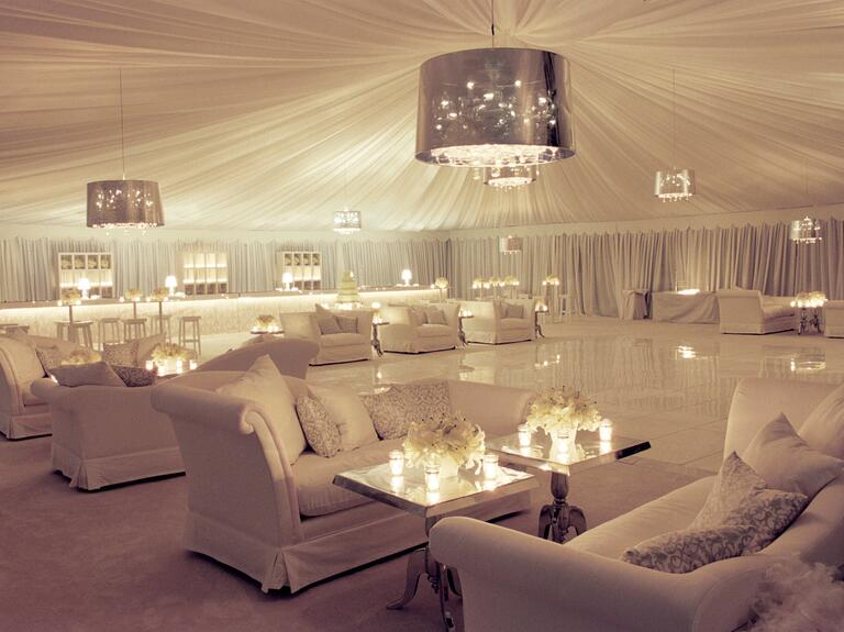 Tara Guerard's luxe tented wedding reception lounge