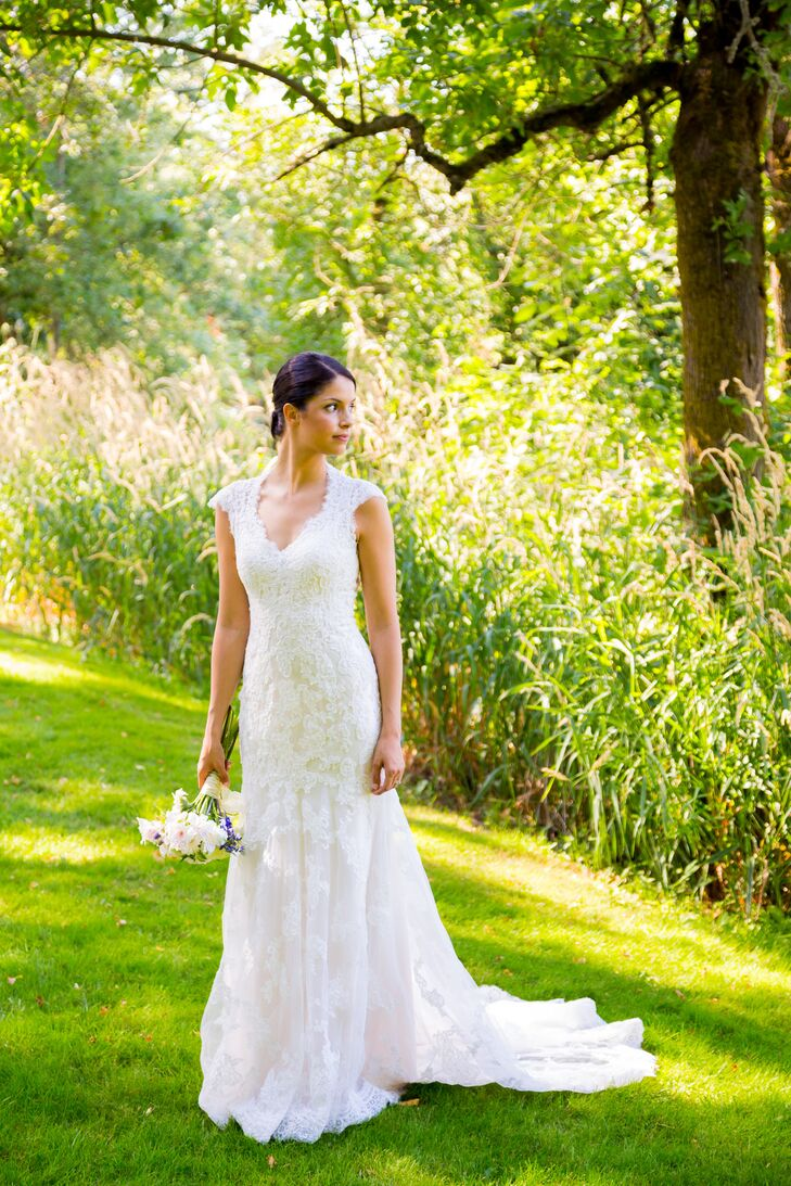 Cream-Colored Wedding Dress With Lace Overlay