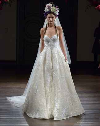 Naeem Khan Fall 2016 raffia embroidered strapless wedding dress