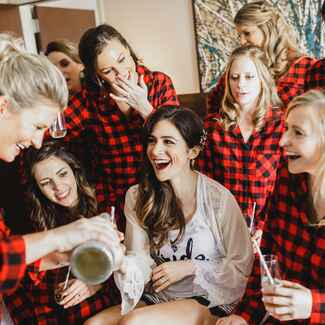 Bride with bridesmaids in flannels