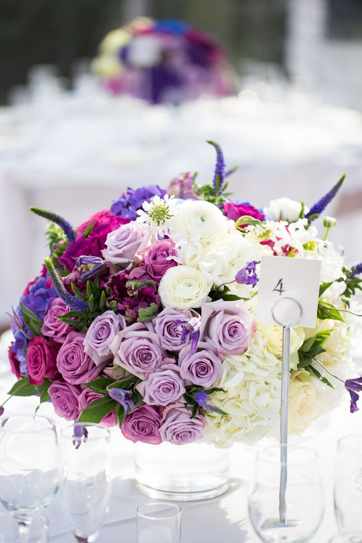 Ombre purple table centerpiece