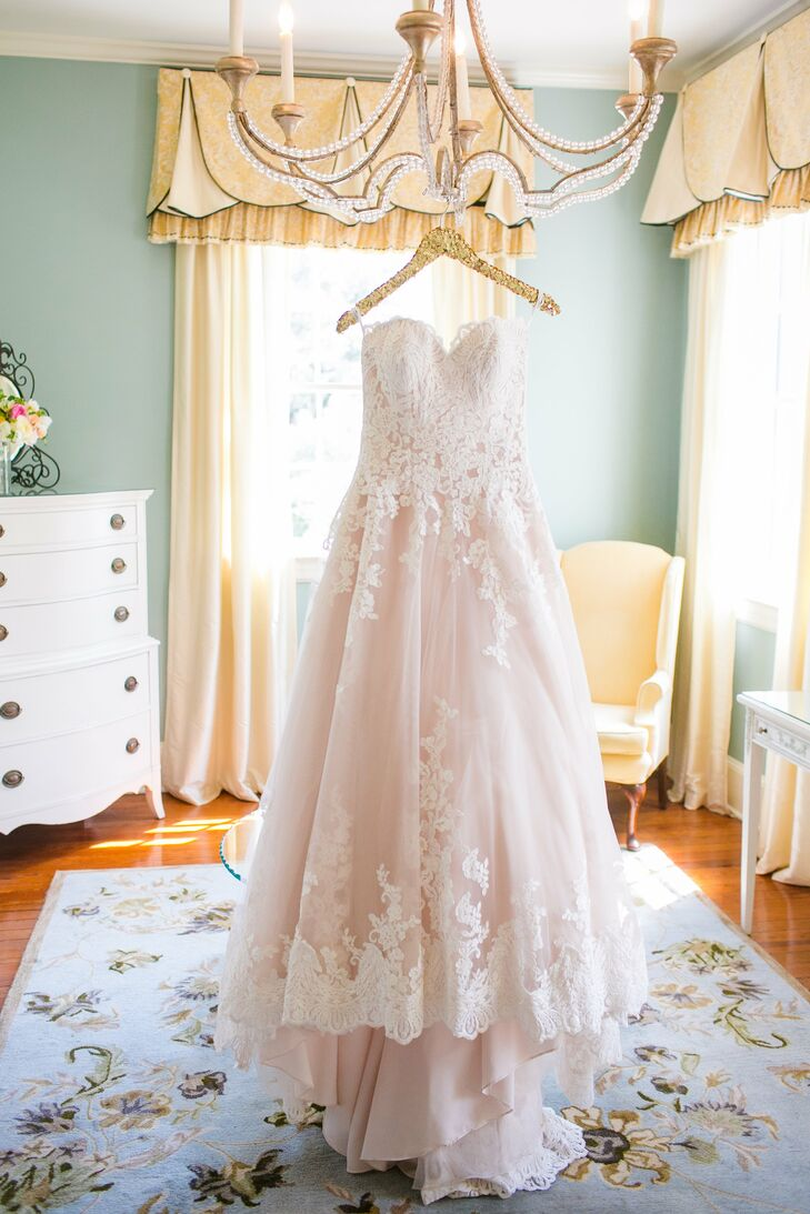 Romantic Blush Sweetheart Ball Gown With Lace Detail