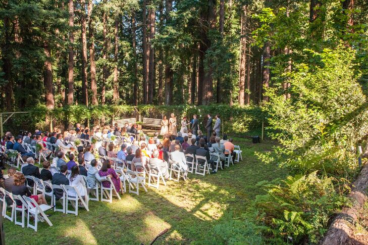 Taking full advantage of the Ralston White Retreat's natural setting, Ellen and Michael decided to host the ceremony, cocktail hour and dinner outdoors on the retreat center's expansive lawns. The site was surrounded by tall, majestic Redwood trees, showcasing one of the couple's favorite things about their California lifestyle, while lending the day a whimsical, rustic vibe.