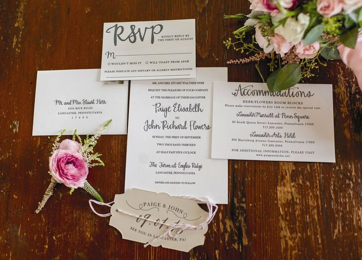 The stationary was all custom-made. It was important to me that all of the stationery matched. It was the perfect mix of elegant and playful, Paige says.