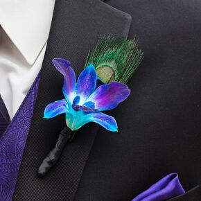 Purple Hyacinth Boutonniere With Peacock Feather