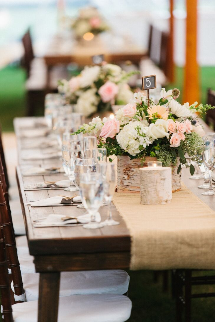 Wood Farm Tables with Burlap Runners