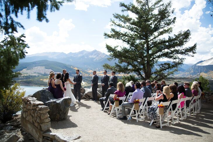 While the couple originally planned to host their wedding a historic mansion, the venue wouldn't allow for an outdoor ceremony, something both Gabrielle and Joe really wanted. They decided to ditch their plans and look for a venue that highlighted their beautiful home state of Colorado and the mountains they love. They found it in Sapphire Point.