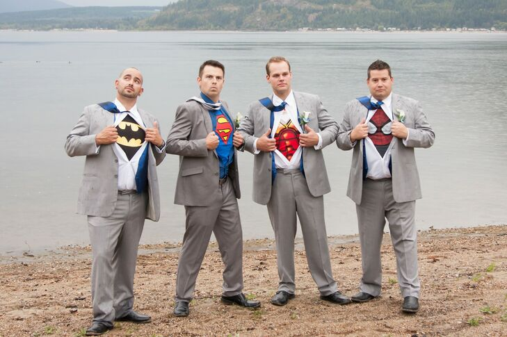 The groomsmen wore fun geeky t-shirts underneath their gray suits.
