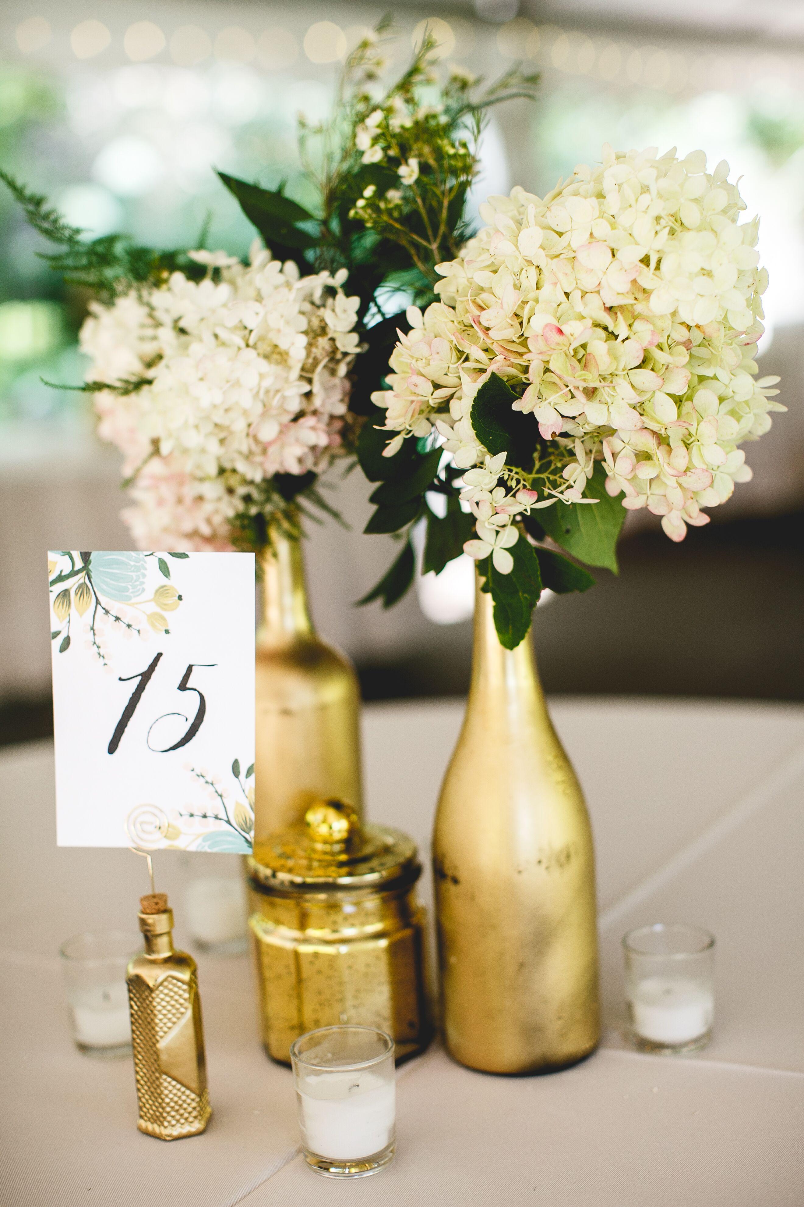 Diy Gold Spray Painted Wine Bottle Vases