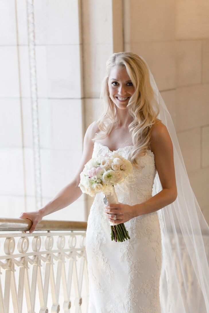 Wedding Dress with Sweetheart Neckline and Lace Overlay