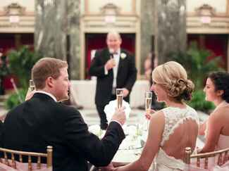 Bride and groom wedding reception toast