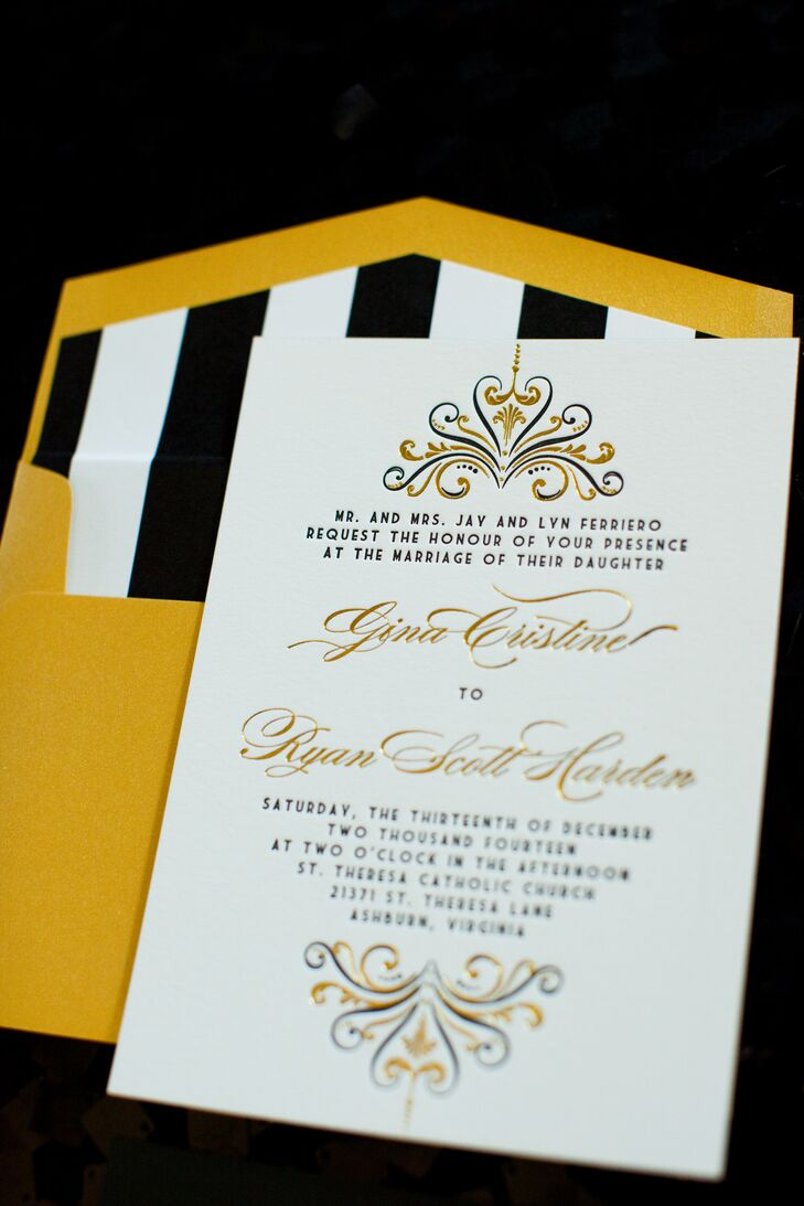 Stylized Wedding Invitations in Gold, Black and White