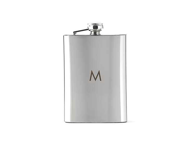 ​The Knot Shop's​ ​Shiny Monogrammed Flask groomsmen gift