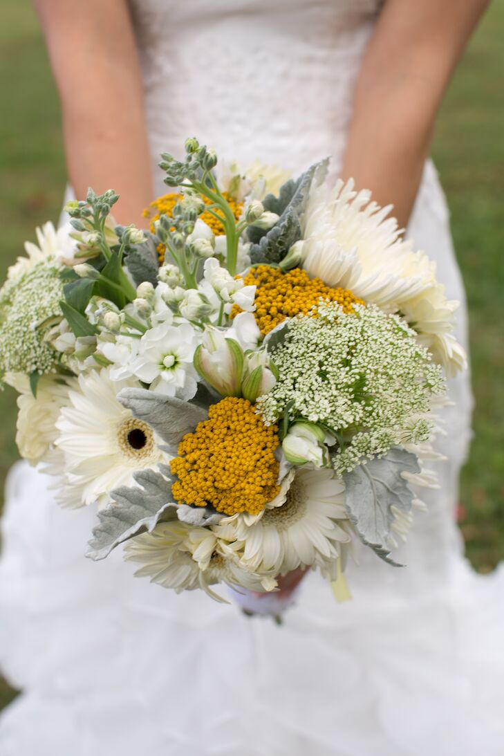 Canary Yellow Green And White Bouquet