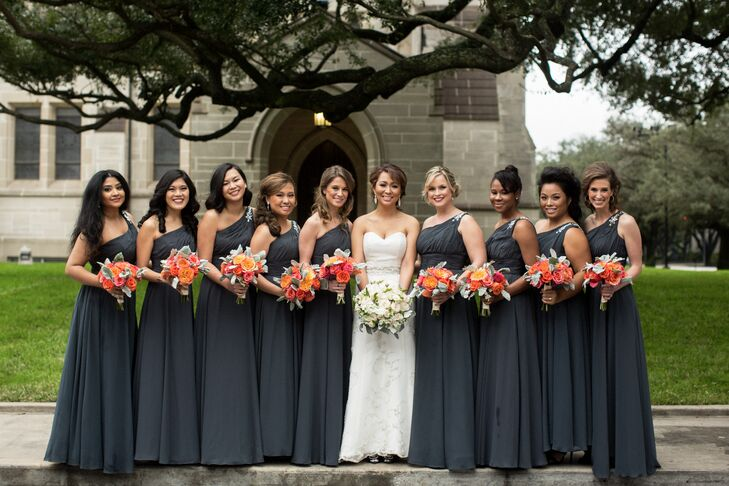 Dark Gray Bridesmaids Dresses with Tangerine Bouquets