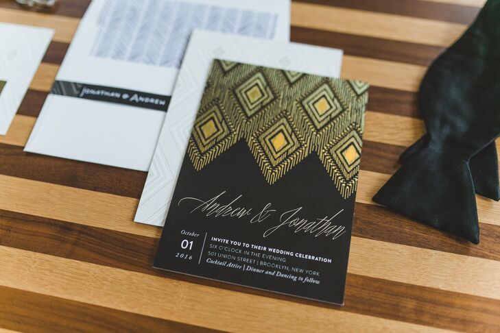Glam Back and Gold Wedding Invitations