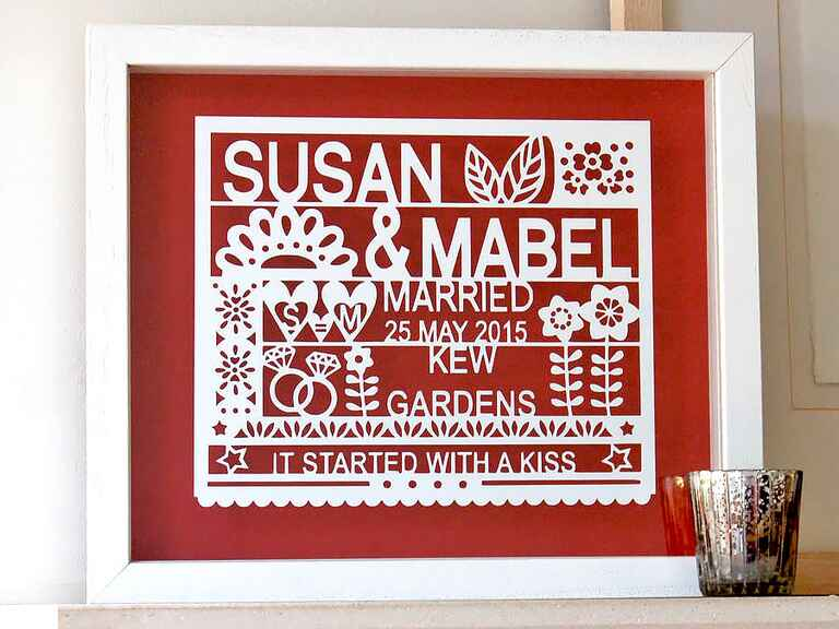 Personalized art gay lesbian wedding gift ideas