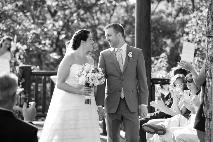 The couple exchanged vows on the balcony at SkiEsta, followed by a tented reception in the backyard.