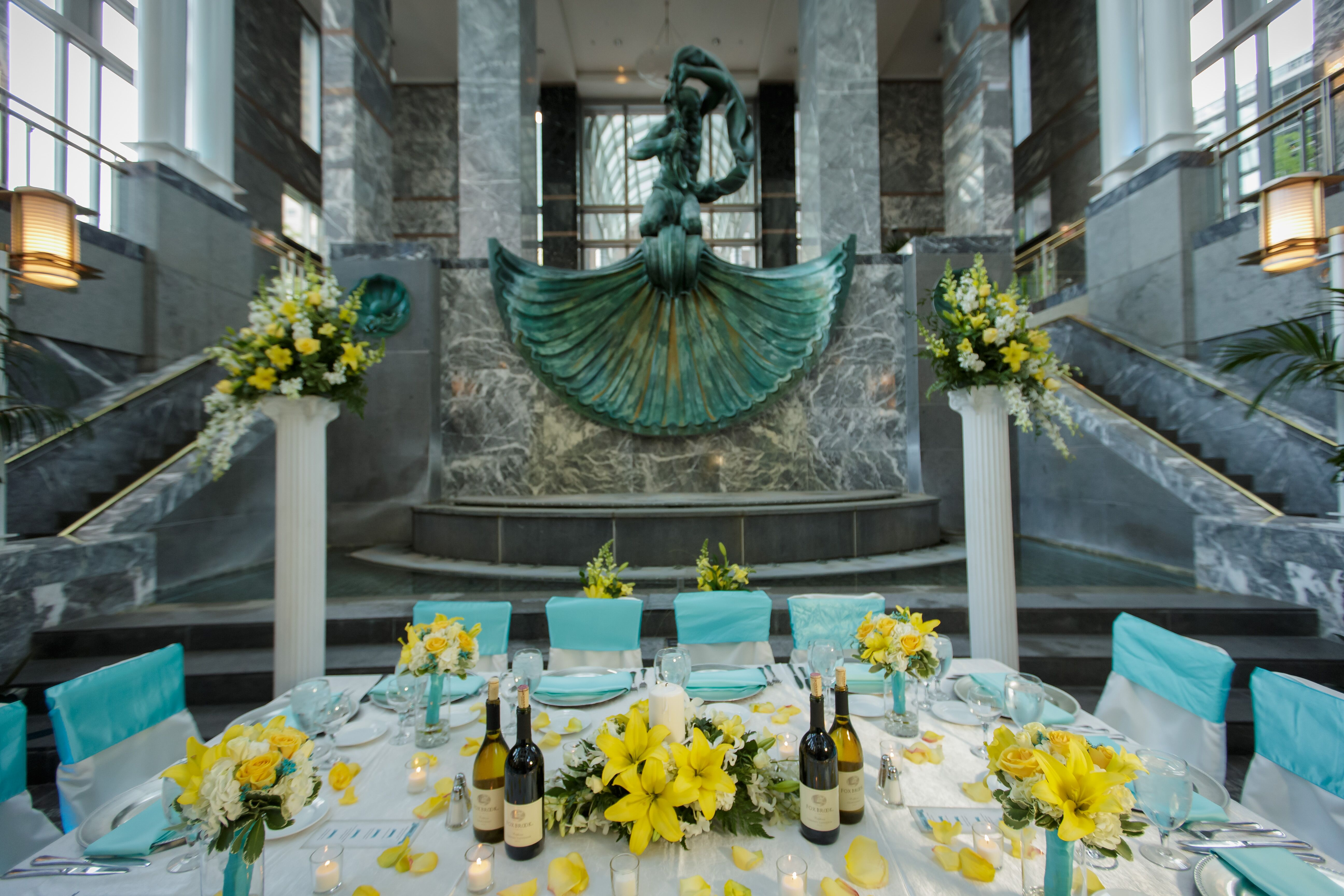 Turquoise And Yellow Reception Decor
