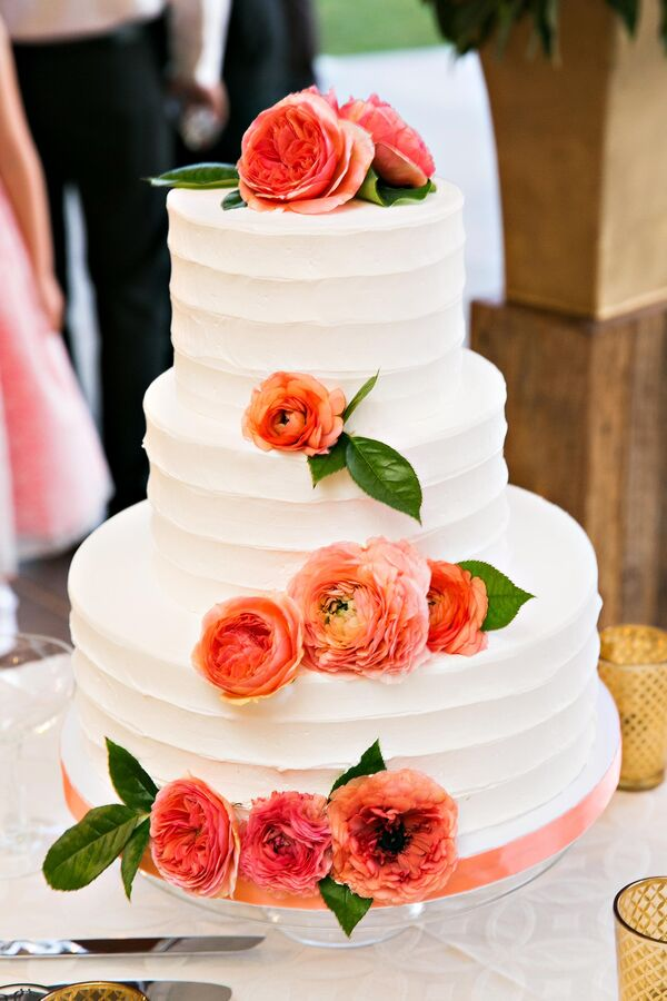 Ivory Wedding Cake, Coral Flowers