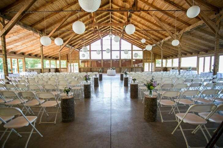 "Jaime and Seth had their ceremony at the barn at Braeloch. ""We had the ceremony inside, and I walked through big barn doors to meet Seth in front of the large window,"" Jaime says."