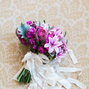 Fuchsia Bridal Bouquet With White Wrap