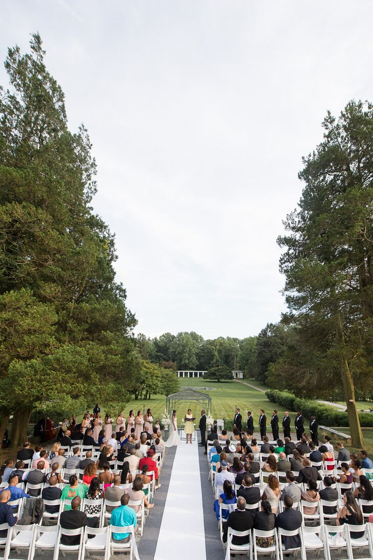 The ceremony was held in the garden at Greystone Hall.