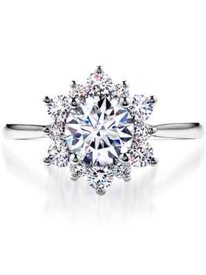 Hears On Fire halo engagement ring