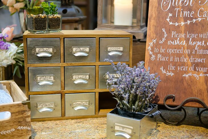 Guests were encouraged to leave well-wishes in old-fashioned note drawers as a time capsule for Mary and Joseph to revisit on their anniversary.