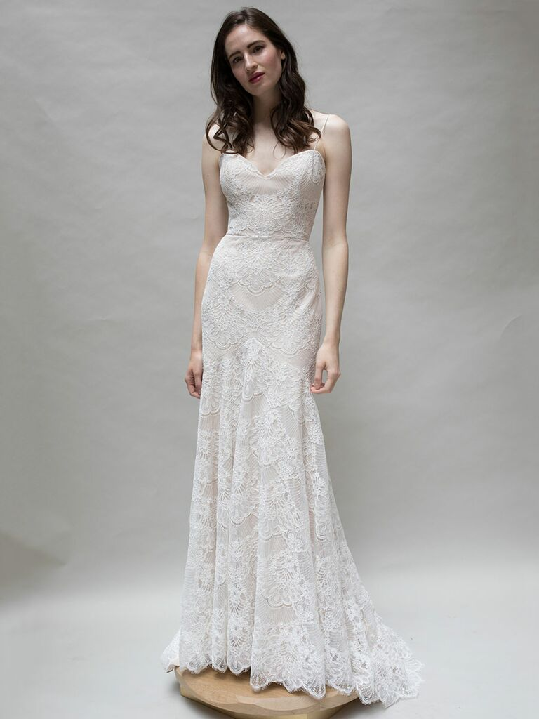 Louvienne spring 2018 collection bridal fashion week photos louvienne springsummer 2018 beaded scallop lace fitted gown with low back and twirl skirt ombrellifo Image collections