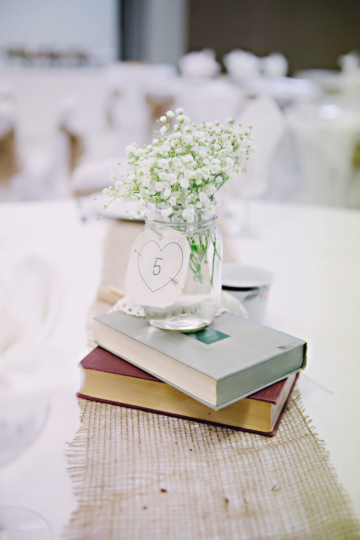 Literary Centerpieces with Mason Jar Flower Arrangements