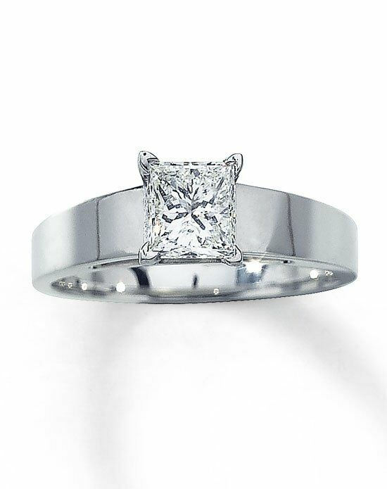 Kay Jewelers Diamond Solitaire Ring 1 ct Princess-Cut 14K White Gold-161215900 Engagement Ring photo